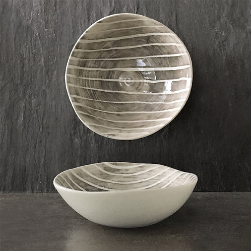 Med hand painted bowl-Painted stripe