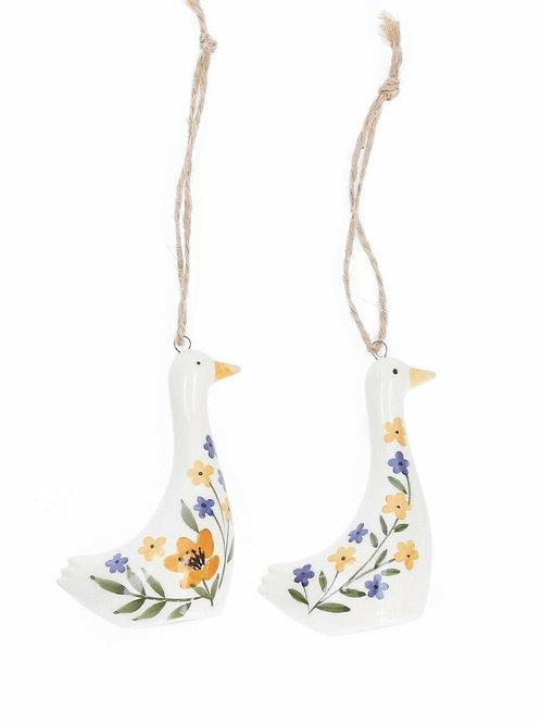 A pair of Country Folk Ceramic Goose Decorations Gisela Graham