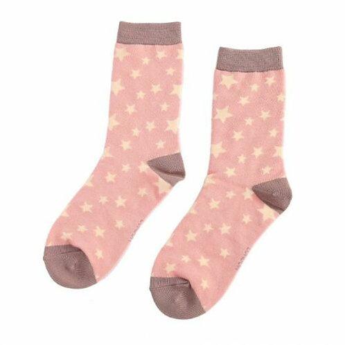 Stars Bamboo Socks Dusky Pink One Size UK 4-9