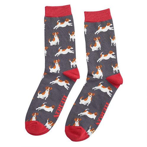 Jack Russels Socks Grey