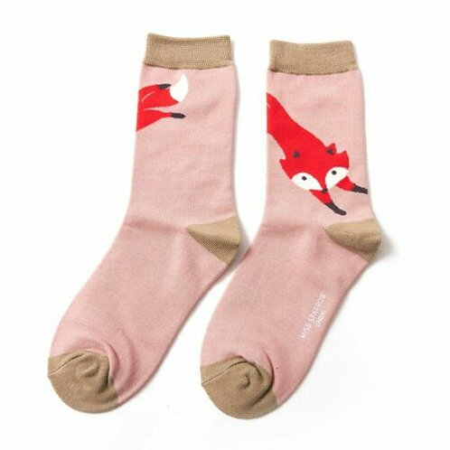 Leaping Fox Bamboo Socks Dusky Pink Size UK 4-9