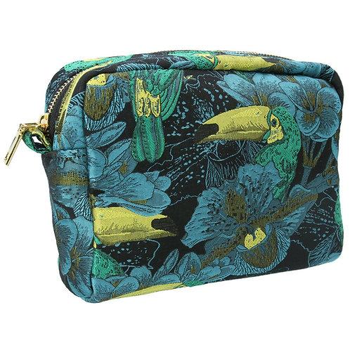 Gisela Graham Jacquard Humming Bird Green Cosmetic Bag Pouch 18cm x 23cm x12cm