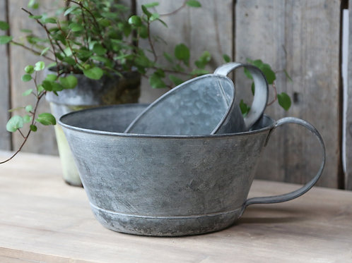 Set of 2 French Antique Zinc Flower pots with Handles