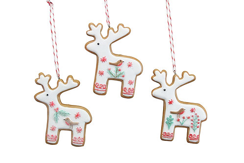 Nordic 'Iced' Gingerbread Resin Reindeer Dec,