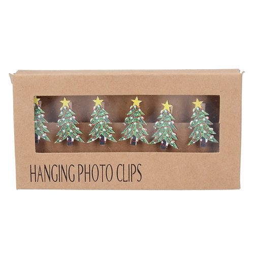 Gisela Graham Christmas Cards Hanger String with Wooden Xmas Tree Clips