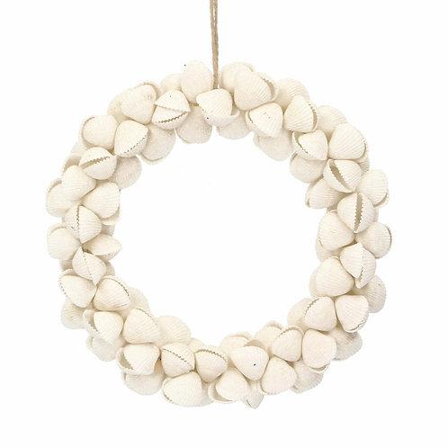 Gisela Graham White Clam Shell Nautical Round Mini Wreath
