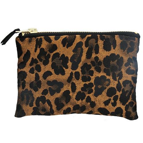 Gisela Graham Copper Leopard Jacquard Purse / Cosmetic Bag 10.5cm x 16.5cm x 2cm