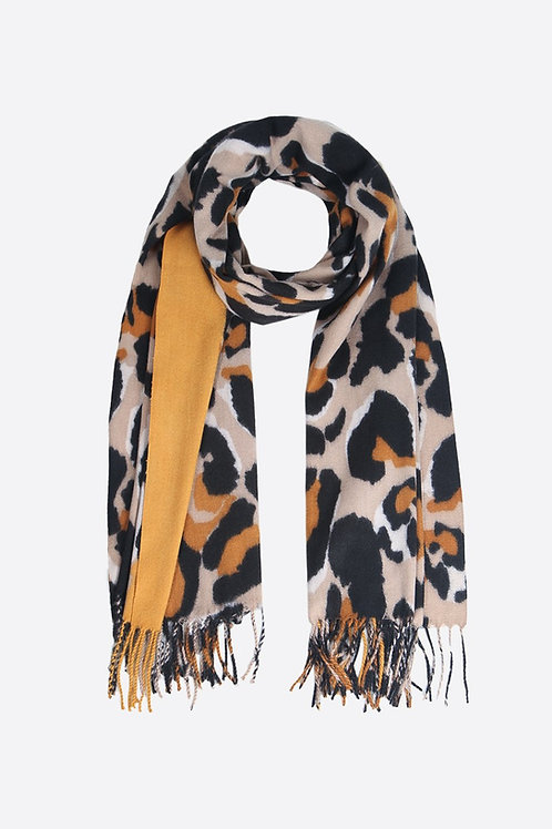 Taupe And Mustard Leopard Print Blanket Scarf With A Tassel.