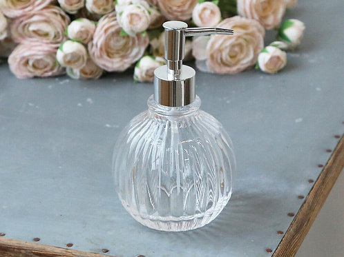 Vintage French Style Ribbed Glass Liquid Soap Lotion Pump Dispenser