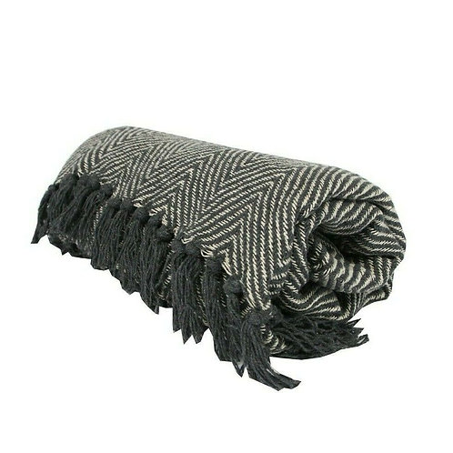 Gisela Graham Dark Grey Chevron Woven Throw 125cm x 150cm