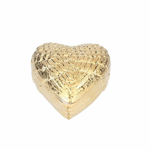 Gisela Graham Gold Ceramic Heart Wings Trinket Box