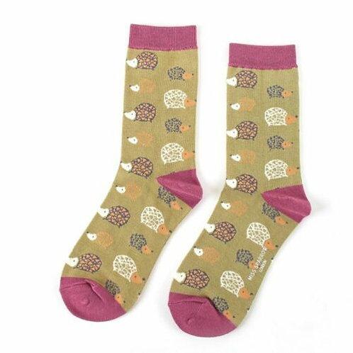 Hedgehogs Bamboo Socks Olive Size UK 4-9