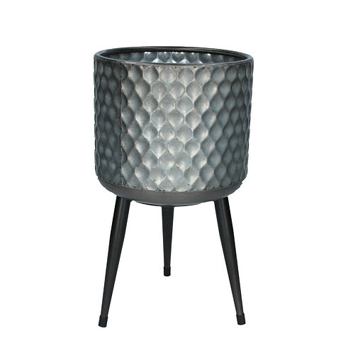 Small Hammered Galvanised Metal Plant Pot Cover Legs Stand Tripod Gisela Graham