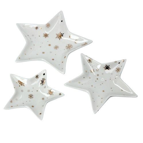 Gisela Graham White and Gold Ceramic Star Trinket dishes - Set of 3