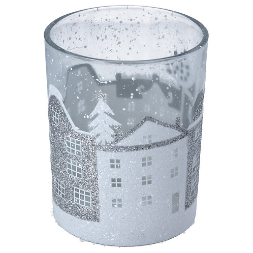 Glass Candle Holder Clear w Silver/White Houses