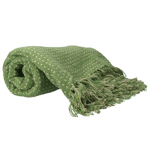 Gisela Graham Green Woven Stab Stitch Cotton Throw 125cm x 150cm