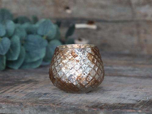 Tealightholder H6.5/D7 cm antique champagne