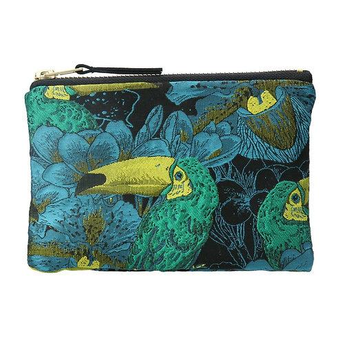 Gisela Graham Green Toucan Jacquard Purse / Cosmetic Bag 10.5cm x 16.5cm x 2cm
