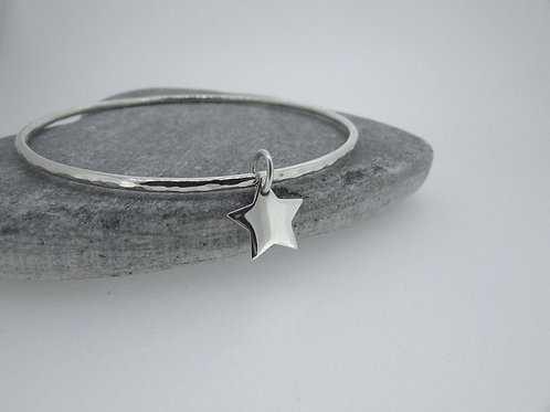 Handmade Hammered Sterling Silver Bangle With Star Charm