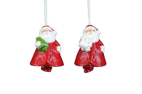 Ceramic Dec 7cm - Santa Bell