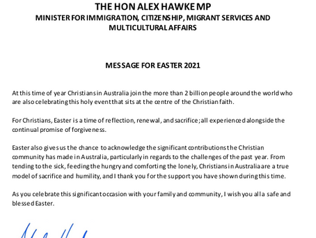 Easter message from Minister Alex Hawke