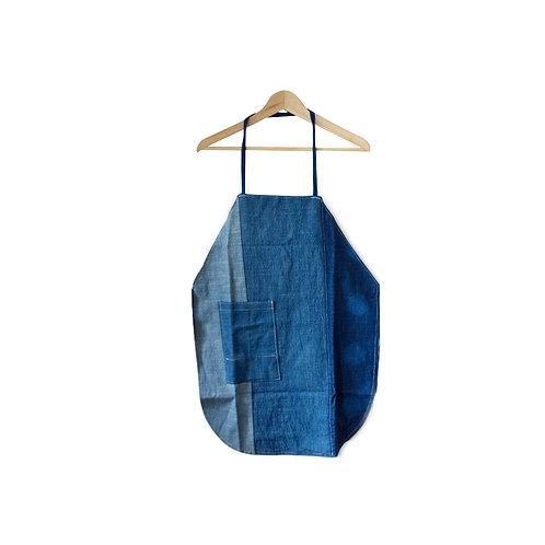 藍染拼布基底圍裙