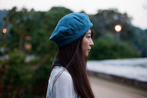 藍染花紋通花織帽