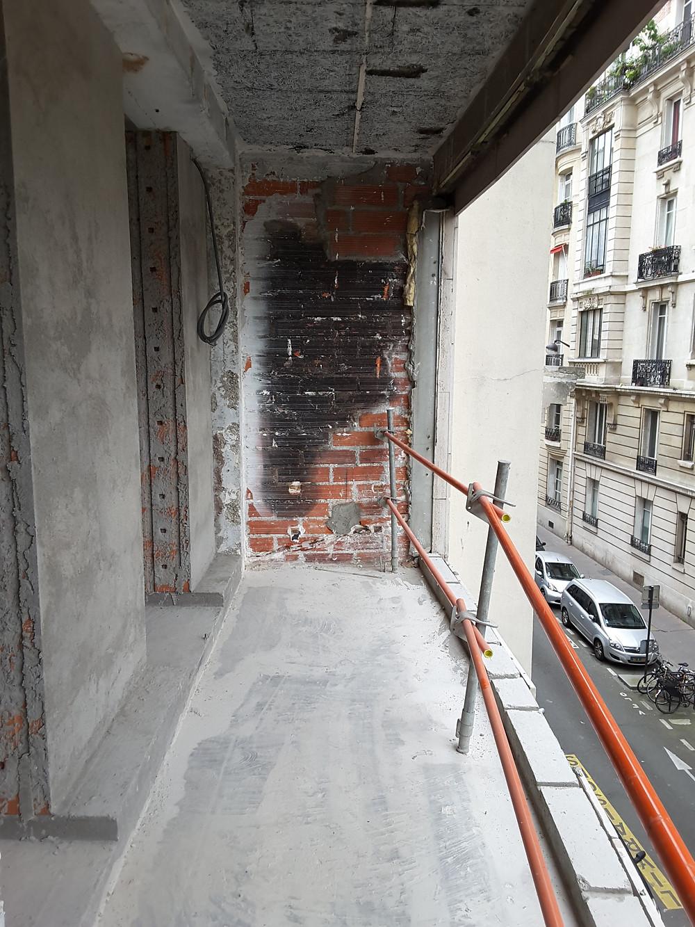 New balcony waiting for windows, cladding, floor treatment and railings.