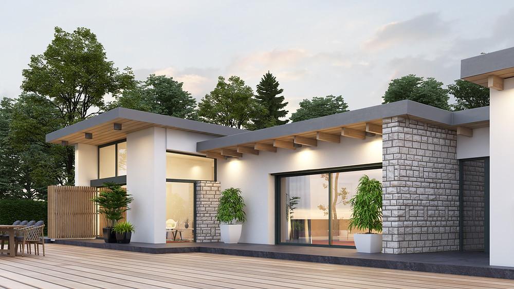 image 3D de la maison rénovée avec extension de (2016) en cours de chantier