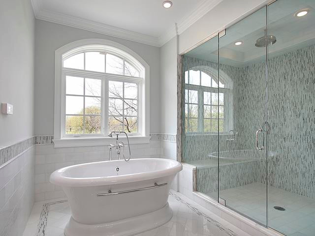Beautiful free-standing tub and glass shower enclosure