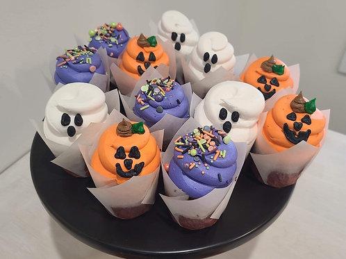Dozen Halloween CupCakes 6 chocolate 6 vanilla