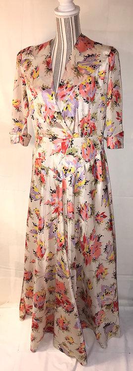 1940s printed satin dress