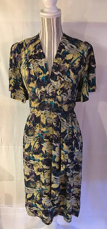 1940s printed silk tea dress