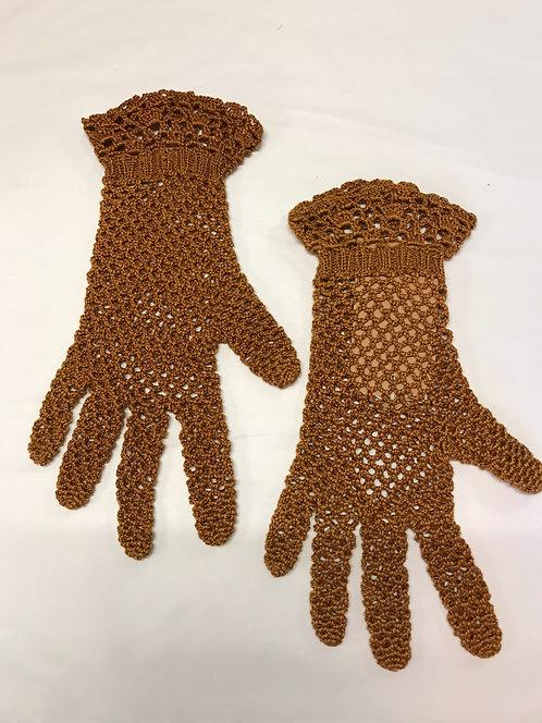 1920s silk crochet gloves