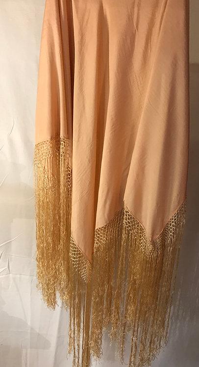 1920s peach silk shawl