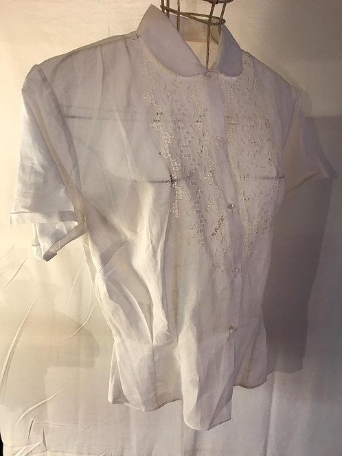 Crisp white linen blouse