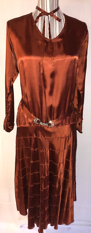 1920s copper satin dress