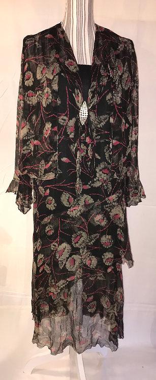 1930s silk tea dress and jacket