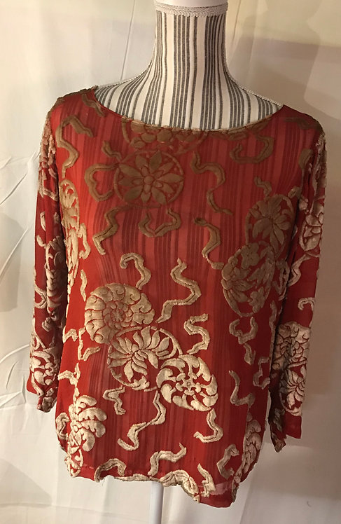 SOLD.1920s Devore silk top.