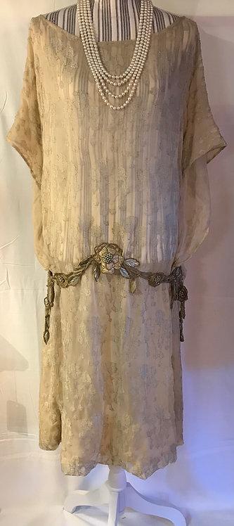 1920s lamé diaphanous gown