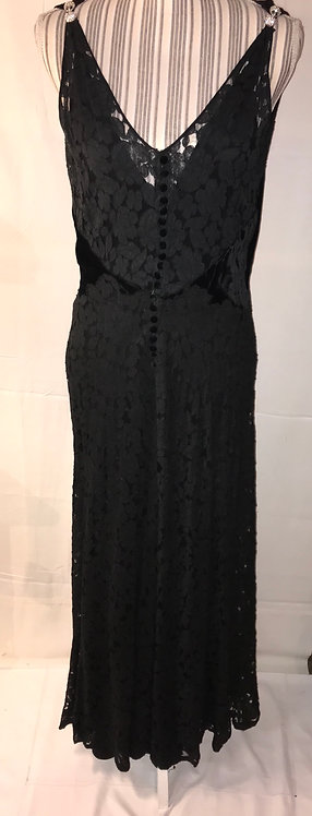 1930s velvet and lace dress