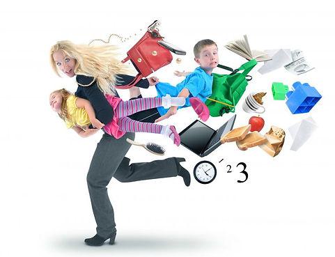 много дел сразу суета торопливость женщина с детьми