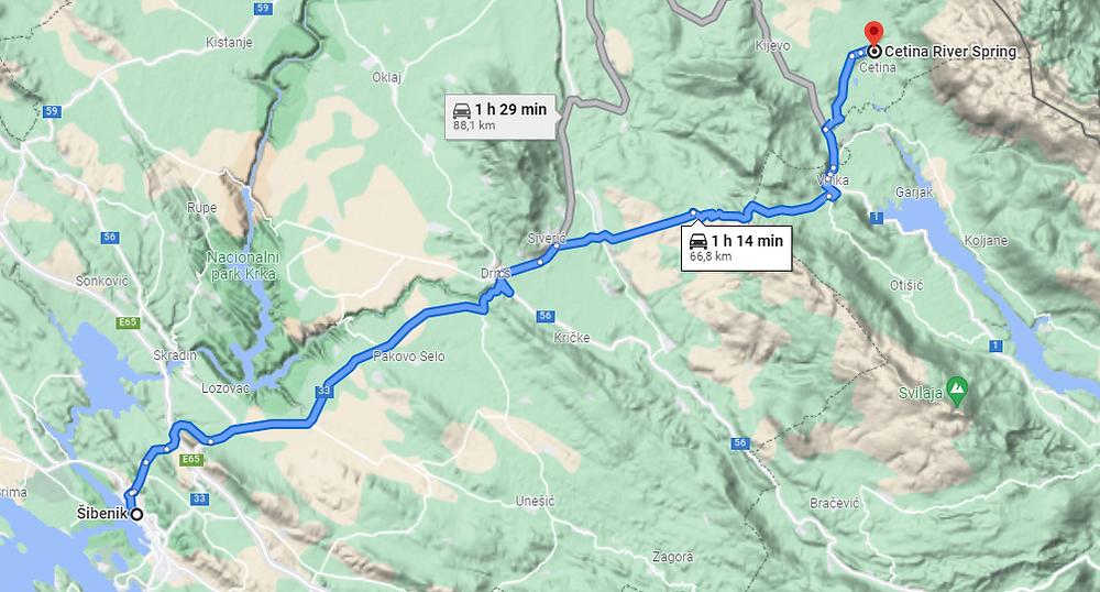 captura google maps ruta Šibenik a Cetina