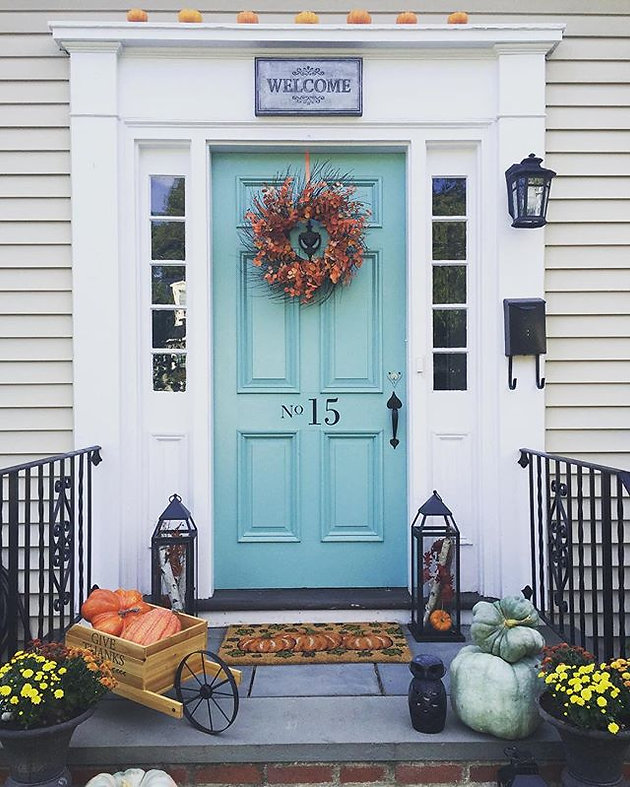 Fall decor with teal exterior door