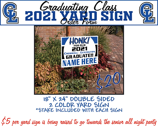 CL21 - Class of 2021 Yard Sign