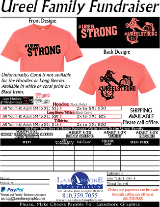 #UreelStrong- Adult T-Shirt, Coral, 2x-3x