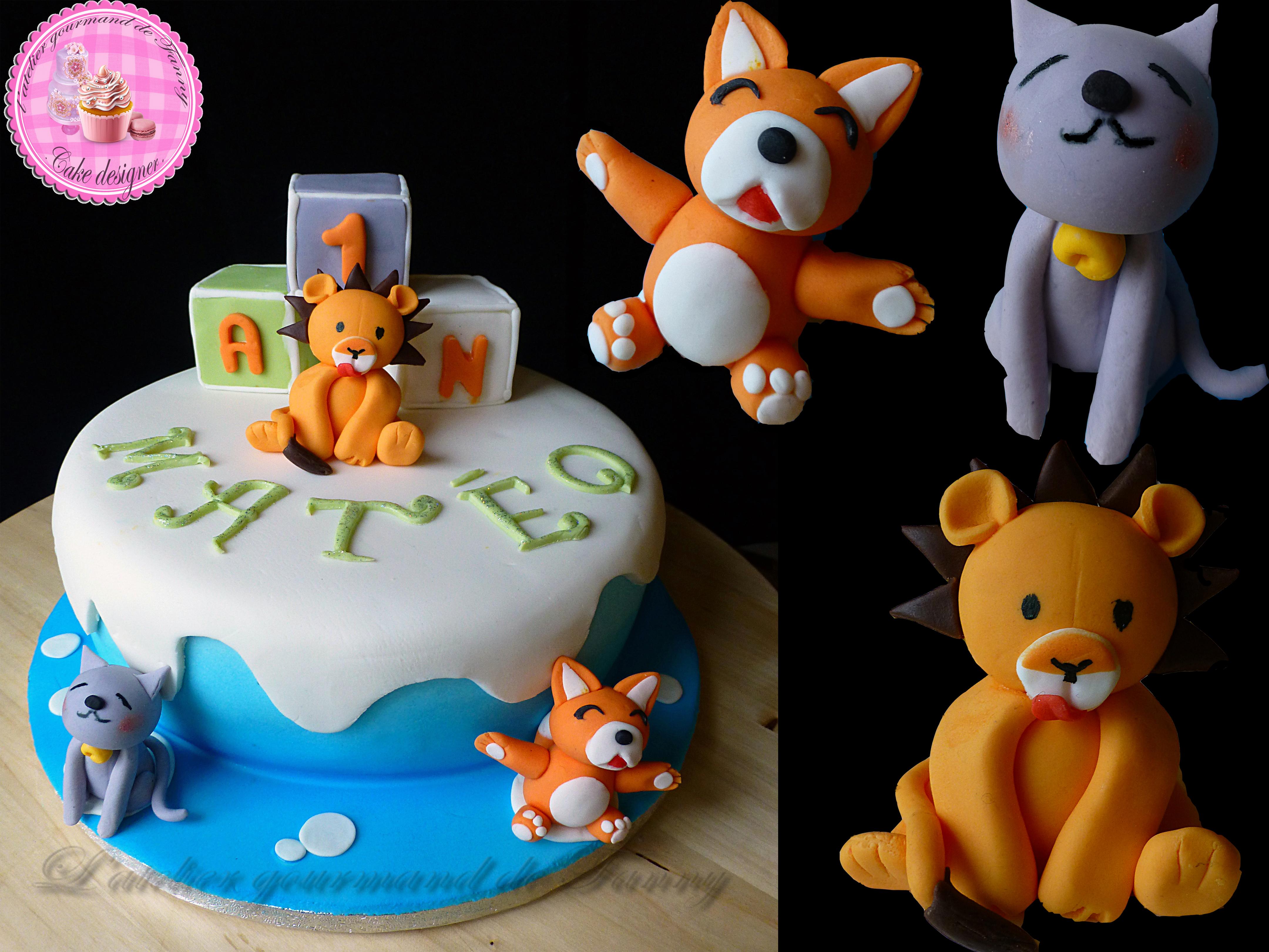 Gâteau d'anniversaire enfant animaux