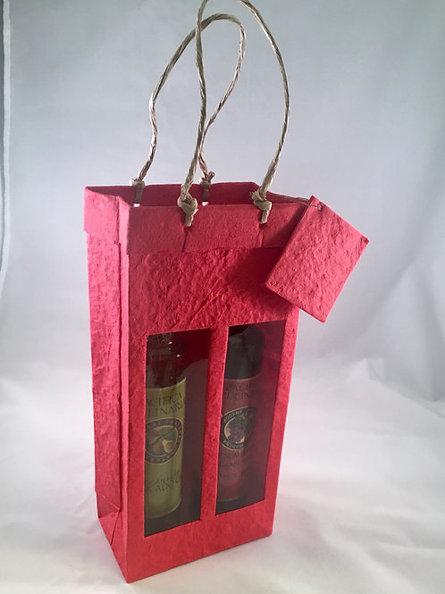 Holiday Red 2 Bottle Gift Bag (8.5oz Bottles)