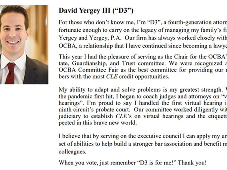 "David A. Yergey III (""D3"") announces candidacy for OCBA 2021-2022 Executive Council"