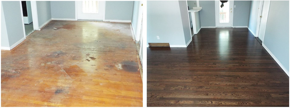 Beauty was brought back to these hardwood floors by a simple refinish job.